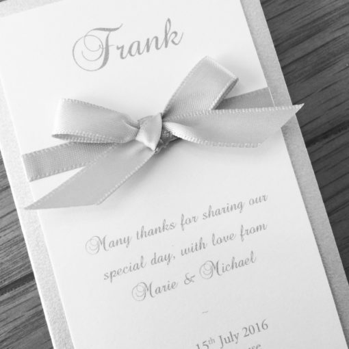 Luxury Silver and White Individual Menu Cards with satin ribbon and a bow detail