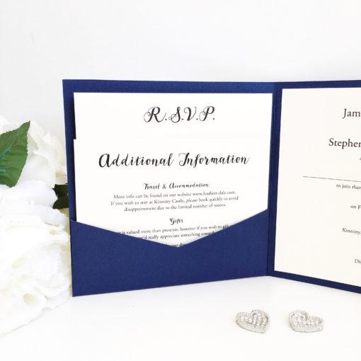 Navy & Ivory Pocketcard Wedding Invitations with 2 loose inserts
