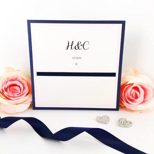 Navy and Blush Pink Pocketcard Wedding Invitations with flat ribbon detail