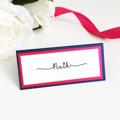 Navy and Fuchsia Pink triple mounted Placecards
