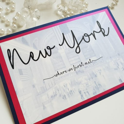 New York theme Table Names with a Fuchsia Pink and Navy colour scheme