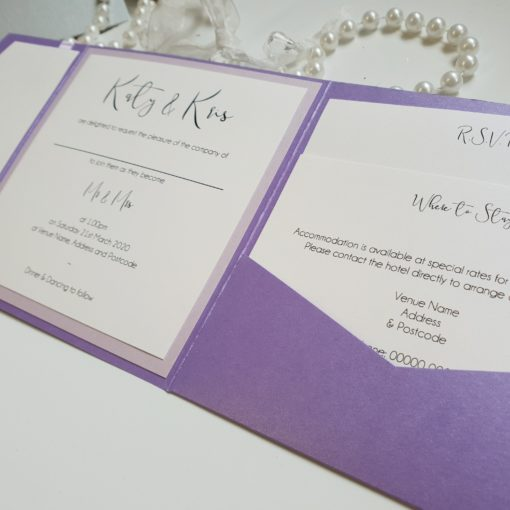 Pocketfold wedding invitation with a pretty font and lilac colour scheme