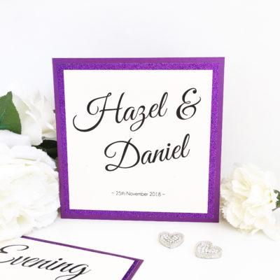 Purple Glitter themed Folded Wedding Invitations