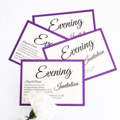 Purple Glittery Flat Mounted Evening Invitations
