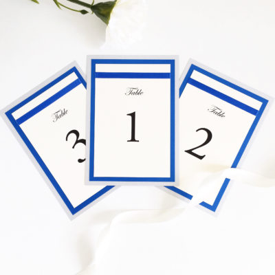 Royal Blue and Silver Table Numbers