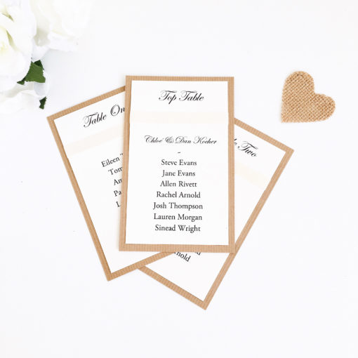 Rustic Kraft and Ivory Table Plan Card with Grosgrain Ribbon