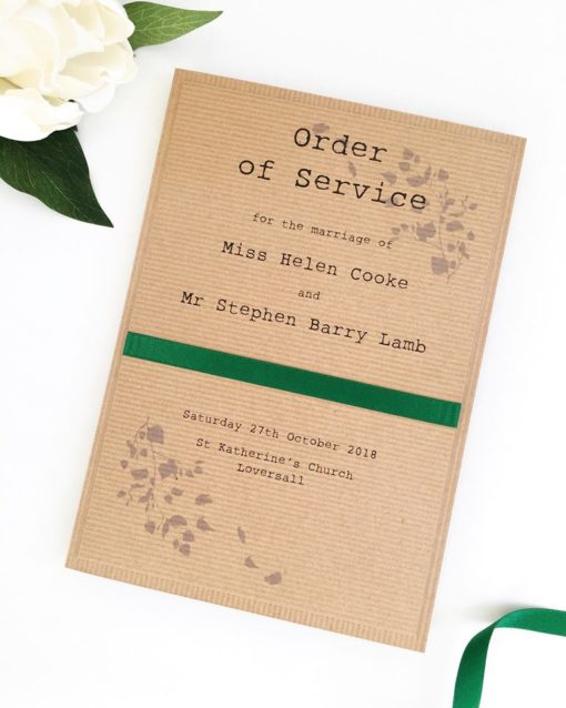 Rustic Order of Service Booklets with green satin ribbon