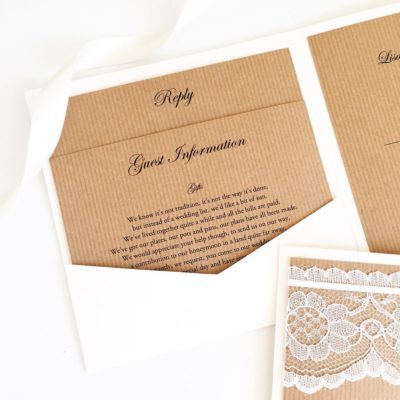 Rustic Pocketcard wedding invitations with 2 loose inserts