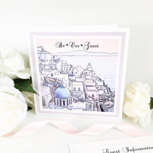 Santorini themed Pocketcard Wedding Invitations
