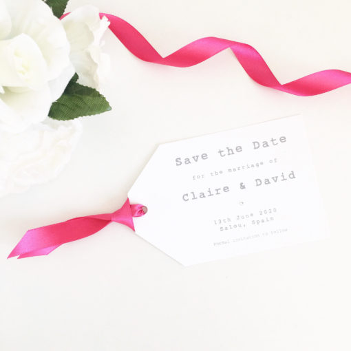 Save the Date Luggage Tags with Fuchsia Pink Ribbon