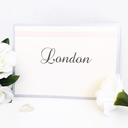 Silver & Blush Pink Table Name Signs with satin ribbon detailing