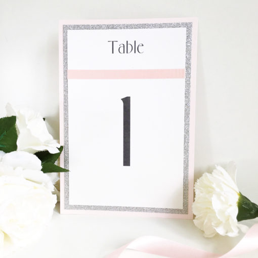 Silver Glitter and Pale Pink Table Number signs