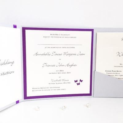 Silver & Purple Butterfly themed Pocketfold Wedding Invitations