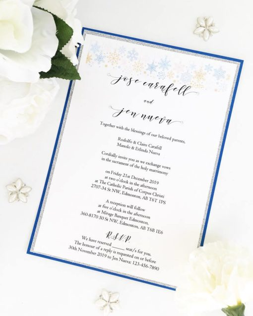 Snowflake Winter design Wedding Invitations with a royal blue and silver glitter theme