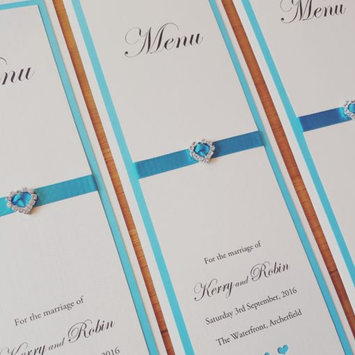 Teal and Ivory Tall Menu Cards with Pretty Heart detailing