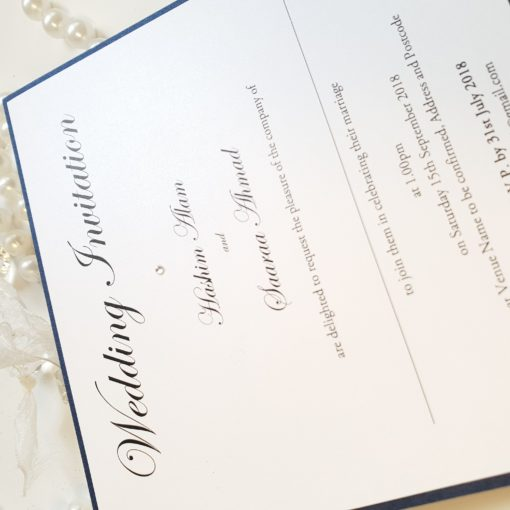 Traditional Wedding Invitation printed onto luxury white pearlised card and mounted onto navy pearlised card
