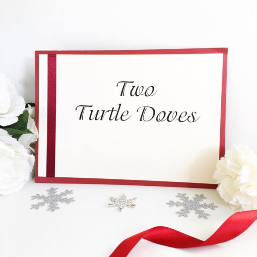 Twelve Days of Christmas themed Wedding Breakfast Table Name Signs