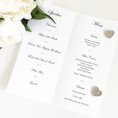 Wedding Breakfast Menus with Speeches for a Jewish Wedding