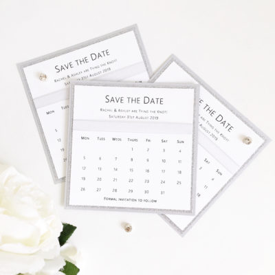 White & Silver Save the Dates with Organza Ribbon and Calendar style wording