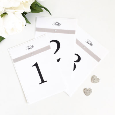White & Silver Table Number Signs