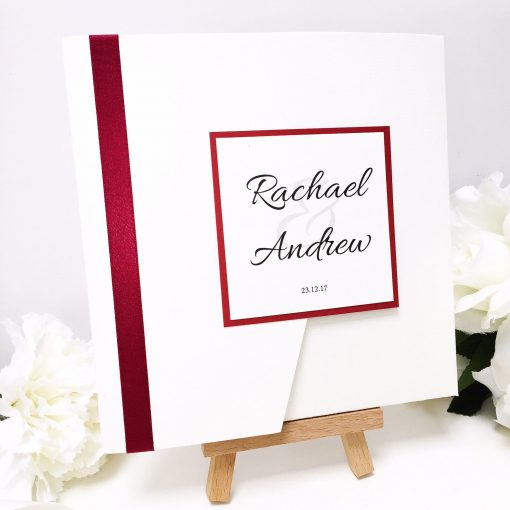 Burgundy Red and Ivory Pocketfold with a personalised plaque