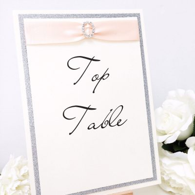Luxury Silver Glitter Table Name signs with coral ribbon and a diamante buckle