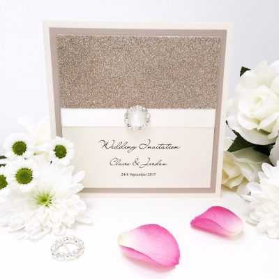 Champagne gold glitter strip and fancy buckle folded wedding invitation