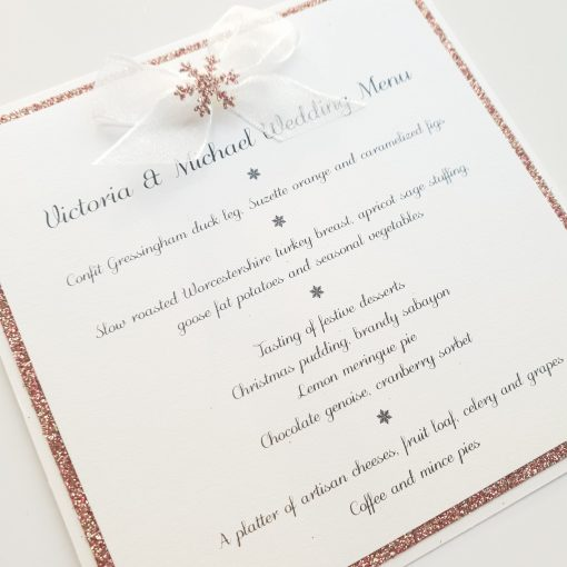 Rose Gold Glitter and Snowflake themed Wedding Menus with a ribbon bow