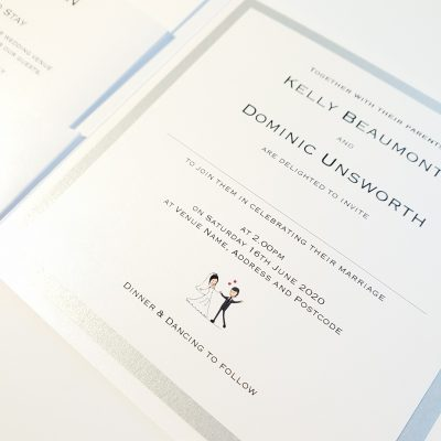 Dinner & Dancing to follow Pocketcard style Wedding Invitation