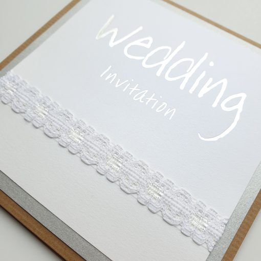 Luxury Silver Foiled Wedding Invitations with Rustic Kraft Card and Lace detail