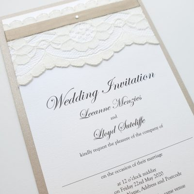 Champagne and White Wedding Invitation with Lace and Ribbon detailing