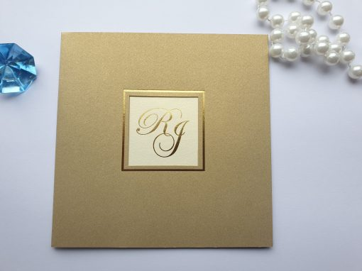 Classic Gold Pearlised Wedding Invitations with Bespoke Foiled Initials