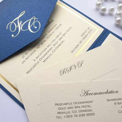 Navy and Gold Personalised Foiled Pocketfold Wedding Invitations