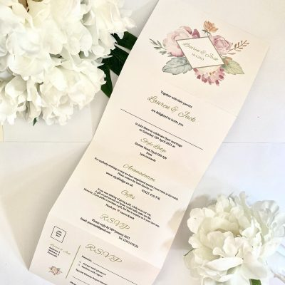 Floral concertina style invitation in pastel colours