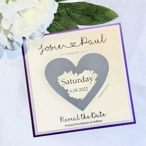purple and silver save the date card