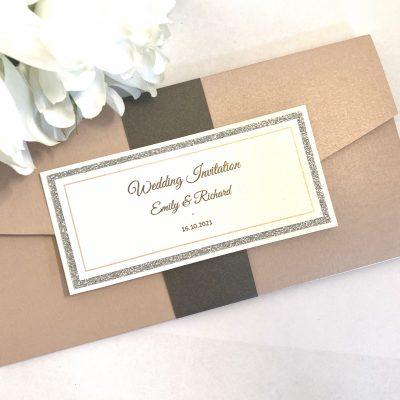 Pink and glitter pocketfold invitation
