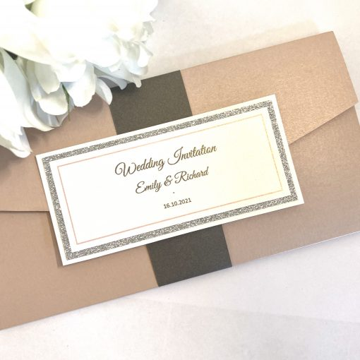 Pink and glitter pocketfold invitation