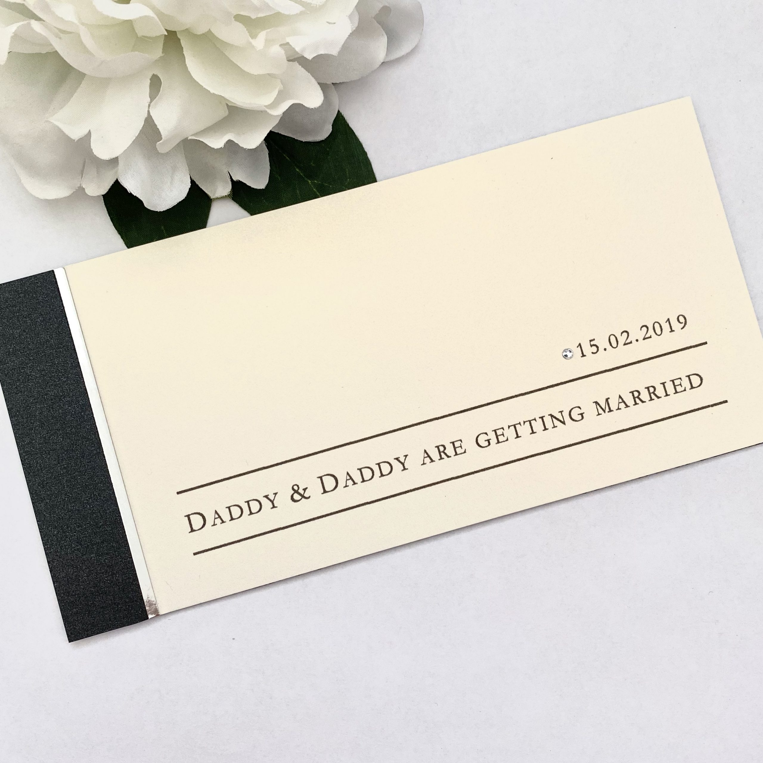 daddy and daddy are getting married cheque book invitation