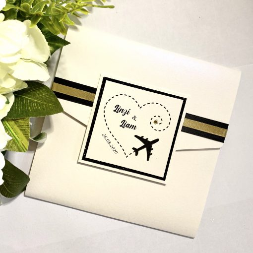 'We're Jetting off to get Married' pocketfold invitation