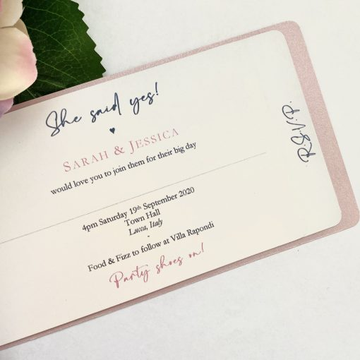 floral heart cheque book invitation