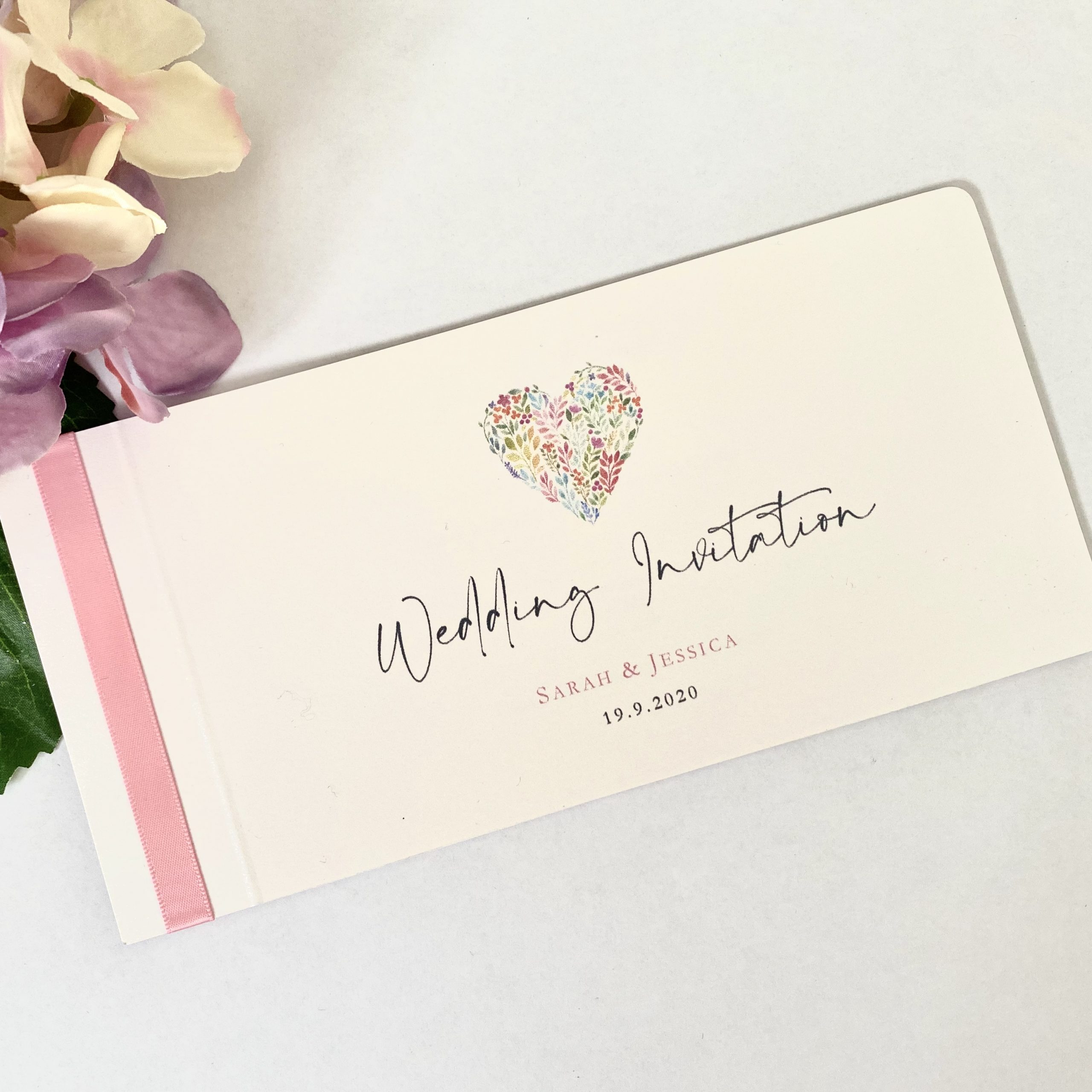 floral heart cheque book in white and pink