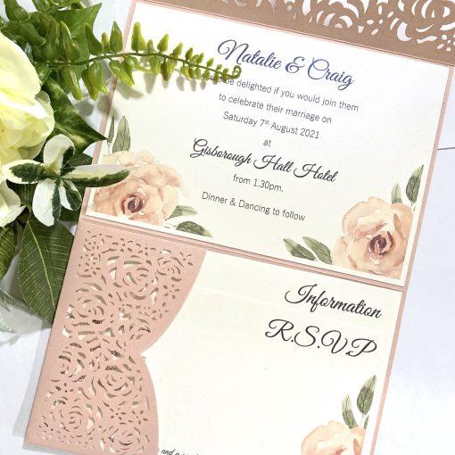 Vintage roses lasercut invitation