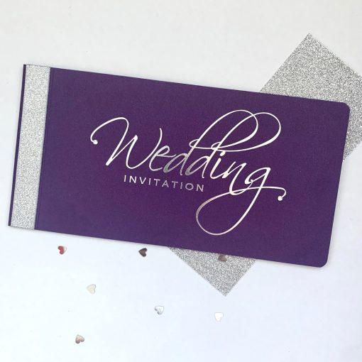 Purple & Silver Chequebook Invitation