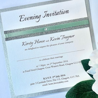 Flat invitation with mint green and silver