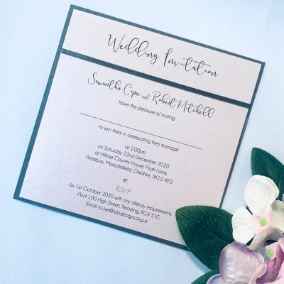 contemporary flat invitation with simple grey border and ribbon