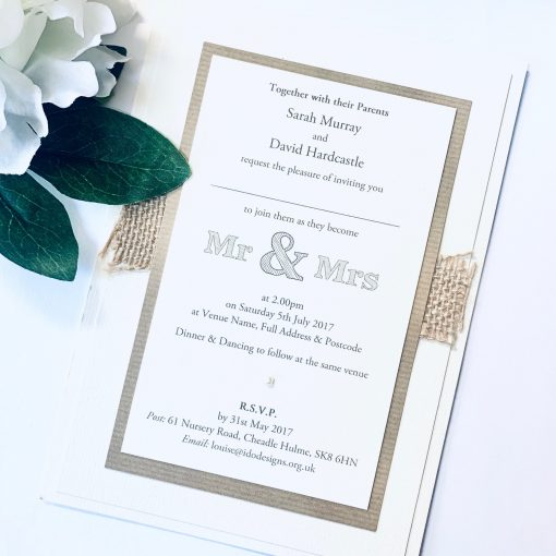 Mr & Mrs Rustic flatback invitation with hessian and pearl
