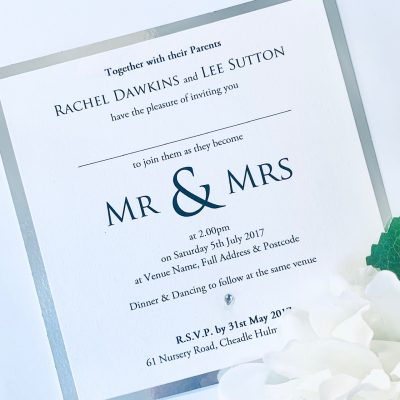 Mr & Mrs flatback with silver mirror border