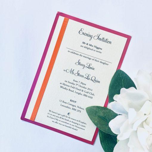 portrait flat invitation with bright pink and orange