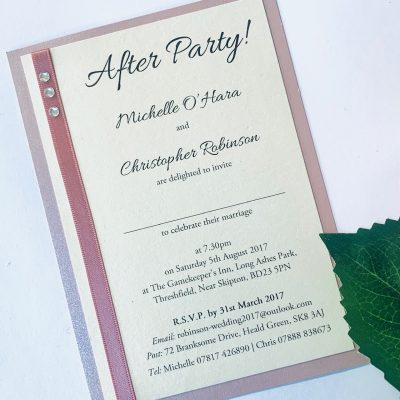 After party flat invitation with dusky pink and diamantes