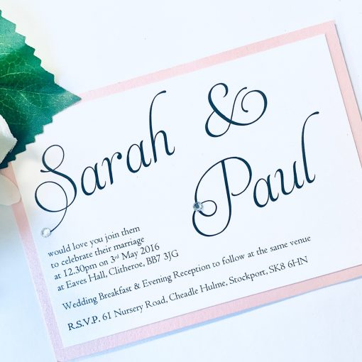small simle flat invitation with pale pink border